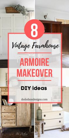 I just LOVE a beautiful armoire makeover, so I'm sharing some of my favorite furniture artists' work all in one place. Inspirational vintage farmhouse ideas for your next DIY furniture project. Modern Farmhouse Decor, Vintage Farmhouse, Farmhouse Ideas, Modern Decor, Armoire Makeover, Furniture Makeover, Refurbished Furniture, Repurposed Furniture, Vintage Furniture