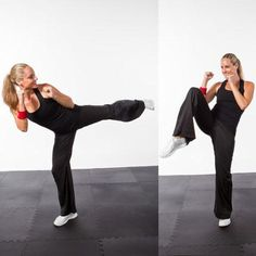 These tough kickboxing workout moves that require zero equipment and can be done pretty much anywhere. Try this kickboxing workout for a mental and cardio challenge—and a bit of strength work, too. Kickboxing Women, Kickboxing Workout, Cardio Workout Routines, At Home Workouts, Workout Ideas, Bootcamp Ideas, Body Workouts, Workout Plans, Yoga Fitness