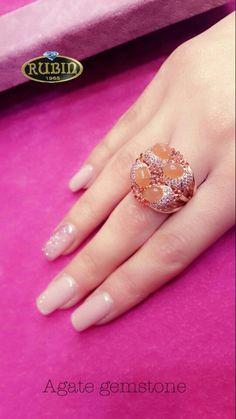 Agate gemstone ring