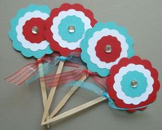 turquoise and red party printables