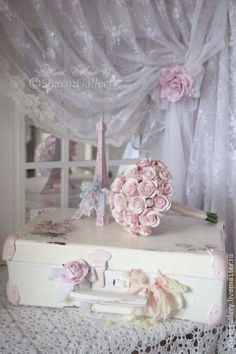 Painted vintage suitcase & lace curtain with Rose tiebacks