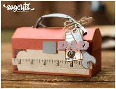 Dad Gift Box by SVG Cuts.  For the hard-to-shop-for Dad, try making a handmade gift!  Fill it with his favorite treat or even a gift card.  Pick up Core'dinations orange and gray cardstock and embellish with a measuring tape ribbon!  Find paper crafting supplies at www.cardstockshop.com for your next project.