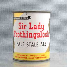 "Earlier this month I posted a vintage ""Storz-Ette"" beer can from the 50's.This was a tongue-in-cheek parody of that which was originally Olde Frothingslosh an radio joke before the Pittsburgh Brewing Co. (Iron City Beer) began to produce it. Olde Frothingslosh was known as ""the pale, stale ale with the foam on the bottom"". It's can featured heavy-set women in 1890's bathing suits called ""Miss Frothingslosh"", an parody of Miss Rheingold."