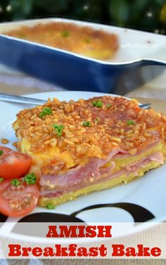 Layers of bread, ham, cheese and an egg mixture results in this fluffy omelette textured layered Amish Breakfast Bake - absolutely scrumptious…