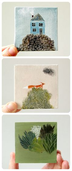 ohchalet tiny canvases... great art idea. i would like to make a tiny collection to hang clustered on the wall.