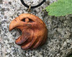 Eagle / Raven Pendant - wooden pyrography pendant - mythical birds, eagle pendant, wood burned necklace, wood carved pendant