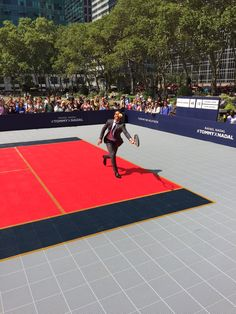 Tommy Hilfiger and Rafael Nadal launched their Global Brand Ambassadorship on a custom made Sport Court tennis court at Bryant Park in New York City. Tommy and Nadal discussed their new relationship before Nadal showed off his skills on Sport Court in a match against Noah Mills, Chanel Iman and Constance Jablonski.  | Sport Court Midwest