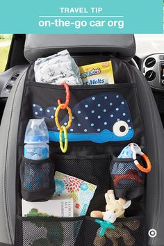 "Some trips in the car seem like they last an eternity. Keep Baby entertained with toys, books and more, plus stay organized with everything you need for diaper changes or cleaning sticky fingers. The 3 Sprouts Backseat Organizer has lots of clear pockets to perfectly keep everything in its place and easy to find. And, as your baby gets older, you can easily update the organizer with ""big kid"" stuff."