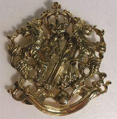 Joan Rivers Pin Brooch Heraldic Crest Crowned Shield Lions Rampant Fleur De Lis  | eBay