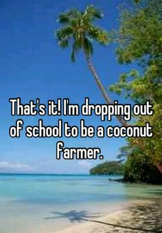 """That's it! I'm dropping out of school to be a coconut farmer."" Download free #WhisperApp at http://whisper.sh and follow us for more #UCLA on http://Instagram.com/uclawhisper  http://Twitter.com/WhisperonUCLA http://Facebook.com/WhisperUcla"