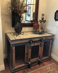 Farmhouse Style single dog kennel by Kennel and Crate! Barn door rollin' door th. Farmhouse Style single dog kennel by Kennel and Crate! Barn door rollin' door that can remain wid Coffee Table Dog Crate, Diy Dog Crate, Wood Dog Crate, Wood Dog Bed, Wooden Crates, Wooden Boxes, Luxury Dog Kennels, Dog Crate Furniture, Furniture Ideas
