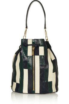 Elizabeth and James Cynnie patchwork snake-effect leather shoulder bag | NET-A-PORTER