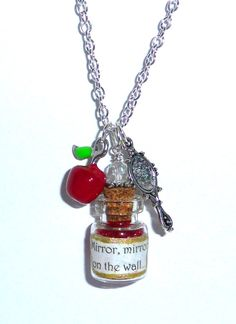 Snow White Bottle Pendant Charm Necklace Red Apple Mirror