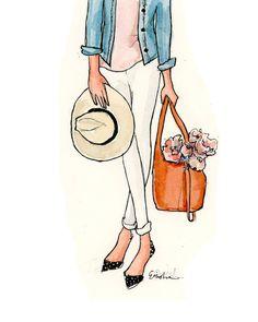 Fashion Illustration Art Print: Peonies & Fedoras