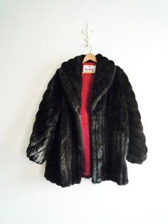 80s Black Faux Mink Fur Coat Union Made in by ShantyIrishVintage #fauxminkcoat #blackfauxfur #1980s #vintagefauxfur #size12fauxfur