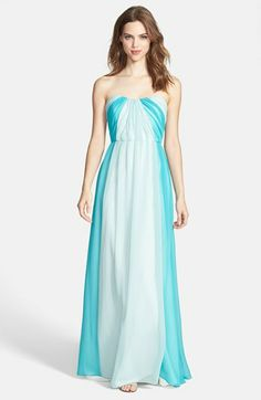 i love this! Does it have too much white for a bridesmaid dress? Jim Hjelm Occasions Two-Tone Pleat Chiffon Gown | Nordstrom