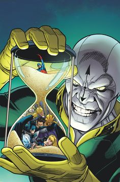 Justice League of America trapped in a hourglass