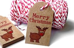 Merry Christmas Tags - Merry Christmas Labels - Merry Christmas Kraft Labels - Christmas Gift Labels - Christmas Gift Tags - Christmas Tags by TrocaderoKraft on Etsy