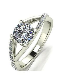 Diamond Moissanite Curved Contour Wedding ring in 9ct White gold or 925 Silver.
