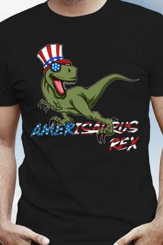 Your rad 4th of Juli apparel featuring a funky patriotic Tyrannosaurus Rex wearing American Flag colored sunglasses and a stars and stripes top hat. Grab this Americasaurus Rex Apparel now! Perfect gift idea for a dinosaur-lover to celebrate independence day and your beloved country. Get your fancy prehistoric uncle sam reptile novelty now. American Flag Colors, Trends, Branded T Shirts, Funny Shirts, Fashion Brands, American Dreams, Stripes, Tyrannosaurus Rex, Fancy