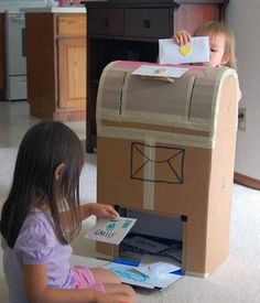 how fun! diy cardboard mailbox, very cool idea for playroom, preschool or dress up