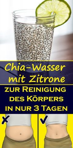 Chia-Wasser mit Zitrone zur Reinigung des Körpers in nur 3 Tagen Chia-water with lemon to remove accumulated fat and to cleanse the body in just 3 days 3 Day Detox Cleanse, Health Cleanse, Diet Detox, Fitness Nutrition, Health And Nutrition, Detox Drinks, Healthy Drinks, Reto Fitness, Health Day