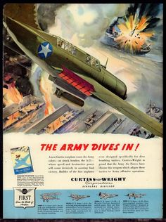 1943 WW II CURTISS A-25 Helldiver Army Air Force Attacks Ship in Harbor WWII AD