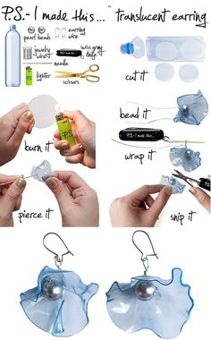 Ohrringe selber machen – Blumen aus Plastikflaschen Make earrings yourself – flowers from plastic bottles Plastic Bottle Crafts, Plastic Jewelry, Recycle Plastic Bottles, Wire Jewelry, Jewelry Crafts, Plastic Earrings, Funky Earrings, Diy Jewellery, Bottle Jewelry