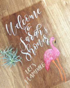 55059cd966eb Let s Flamingle pink flamingo baby shower welcome sign Welcome Baby Showers