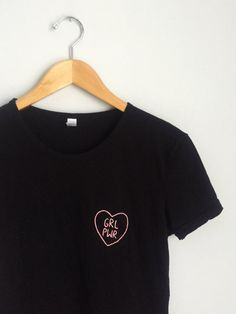 Grl Pwr Heart hand embroider t-shirt | HOLYTABLESALT on Etsy