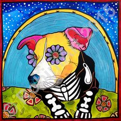 Gizmo the mixed breed dog. Custom pet portrait. Acrylic and pen on Gessobord artist panel. © RobiniArt 2015. To commission a beautiful, original, custom portrait of your pet, please email robin@robiniart.com or visit www.robiniart.com/contact. Thanks!  #dog #dogart #beauty #beautiful #color #jeweltones #petportrait #originalart #art #design #pets #cutedogs #interiordesign