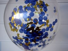 Confetti Filled Balloons Dark Blue and Gold by brightsoslight, $5.00