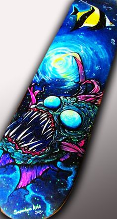 Custom Skateboard Art - Angler Fish/ Lamp Fish Painting - Original Fine Art