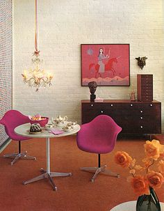 1962 interior decor, love the artwork
