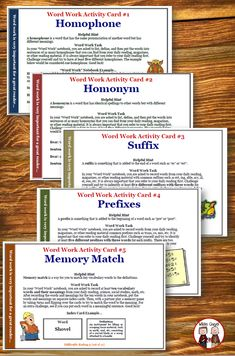 Here are some word work activity cards that would be great for writer's workshop, Daily 5 rotations, or ELA stations in your classroom! Included are over 20 word work activities to use in your grade, grade, or grade classroom. Teaching Strategies, Teaching Tips, Upper Elementary Resources, Elementary Schools, 3rd Grade Words, Common Core Curriculum, Word Work Activities, Writing Centers, Writing Rubrics
