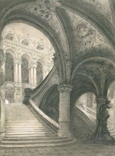 The Staircase Of The Paris Opera House Drawing - The Staircase Of The Paris Opera House Fine Art Print Architecture Concept Drawings, Historical Architecture, Ancient Architecture, Art And Architecture, Staircase Drawing, Gothic Drawings, Paris Opera House, Environment Concept Art, Phantom Of The Opera