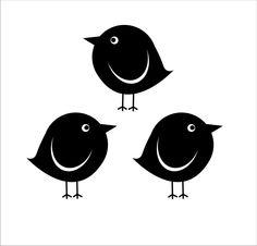Bird Wall Decals set of 3 round birds bird by FairyDustDecals Wall Stickers Birds, Bird Wall Decals, Wall Art, Silhouette Cameo, Silhouettes, Bird Stencil, Damask Stencil, Stencil Patterns, Fat Bird