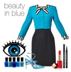 """""""Blue Dress Contest"""" by misty-green-1 ❤ liked on Polyvore featuring Eyeko, Casadei, Zoya and Estée Lauder"""