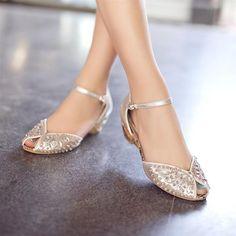 2013 sandalias de diamantes de imitación cuero genuino dedo del pie abierto cuñas oro plata cristal zapatos de boda plana pequeñas yardas sandalias femeninas