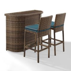 Crosley Furniture Bradenton 3 Piece Outdoor Wicker Bar Set - Bar & Two Stools with Navy Cushions, Blue
