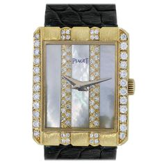 Piaget Lady's Yellow Gold Diamond Mother of Pearl Dial Automatic Wristwatch   From a unique collection of vintage wrist watches at https://www.1stdibs.com/jewelry/watches/wrist-watches/