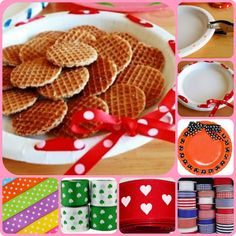 Supplies for Holiday Ribbon Plates:  paper plates, any color or size (you can use plastic plates, but they're harder to punch)      hole punch      ribbon, craft ribbon or curling ribbon      treats  Punch holes about every inch all the way around. Then pick a spot to start and thread the ribbon through each hole.  There are a few ways you can thread the ribbon. It can be up and down or around and around. Both look pretty, so it just depends on your preference.  Once the ribbon has been...