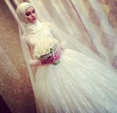 hijab, wedding, and bride image