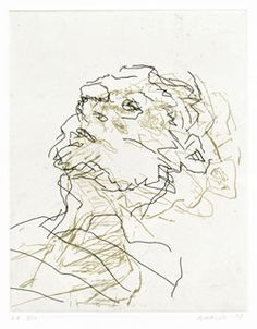 Google Image Result for http://www.fitzmuseum.cam.ac.uk/gallery/auerbach/images/250/P.96-1999.jpg. This is a very loose drawing with little colour and is very simple but so effect. You are able to see the face so easy and its drawn just through a series of lines. I like how layering has been created it lifts the face and almost makes it three dimensional.
