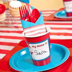 cup labels and plastic ware bundles, striped table cloth Plastic Ware, Striped Table, Diy Wedding Projects, Dr Suess, Classroom Inspiration, Grad Parties, Place Setting, Forks, Baby Shower Themes