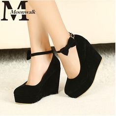 Sexy Women Fashion Buckle Ladies Shoes Wedges High Heels