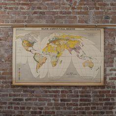 Vintage School Map of World Vegetation   Old School Maps