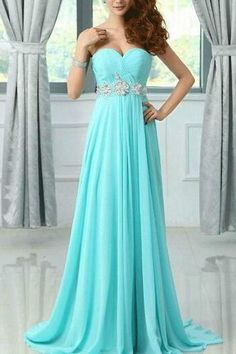 Pretty Light Blue Chiffon Sweetheart Beadings Prom Dresses 2016 Blue Prom Dresses Prom Gowns Evenig Dresses