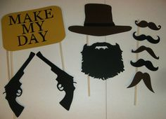 DIY Cowboy western Photo Booth Prop Set Mustache, Glasses, Hats Guns on Etsy, $10.00