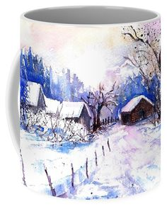Mountain Village In Snow Coffee Mug featuring the painting Mountain Village in Snow by Sabina Von Arx Mountain Village, Mugs For Sale, Creative Colour, Framed Prints, Art Prints, Winter Scenes, Painting Techniques, Watercolor Paintings, Watercolour